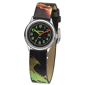 JACQUES FAREL Kids Wristwatch Analog Quartz Boys Faux Leather HCC 333 Dragon