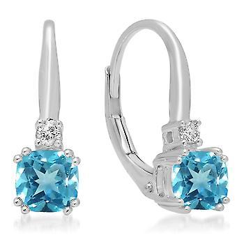 Dazzlingrock Collection 14K Cushion Cut Blue Topaz & Round Cut White Diamond Ladies Dangling Drop Earrings, White Gold