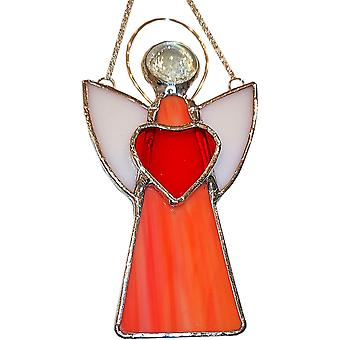 Simmerdim Design Stained Glass Angel Window Hanger Orange