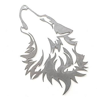 Howling Wolf-Metal cut teken 18x13in