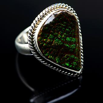 Ammolite Ring 6.25 (925 Sterling Silver)  - Handmade Boho Vintage Jewelry RING977608