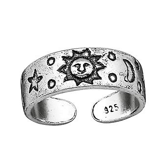 Sun, Moon&star - 925 Sterling Silver Toe Rings - W38965X