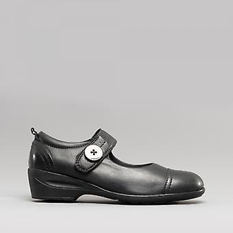 Dr Keller Edwina Ladies Leather Mary Jane Shoes Black