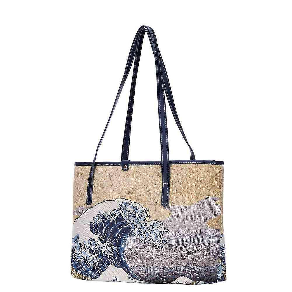 Hokusai - great wave off kanagawa shoulder tote bag by signare tapestry / coll-art-jp-wave