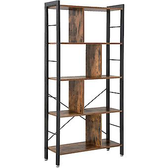 Wall cabinet with 5 shelves and 4 partitions - black/ rustic brown