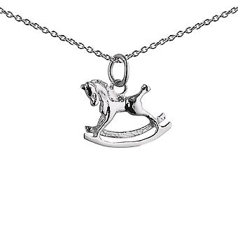 Silver 12x17mm Rocking Horse Pendant with a 1mm wide rolo Chain 24 inches