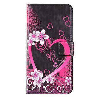 Til iPhone 8 PLUS, 7 PLUS Tegnebog sag, blomstrende hjerte beskyttende læder cover