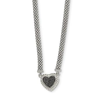925 Sterling Silver Black CZ Cubic Zirconia Simulated Diamond Love Heart Mesh Link Necklace 18 Inch Jewelry Gifts for Wo