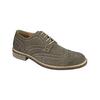 Roamers Dark Grey Camurça 4 Eye Brogue Shoe Têxtil/couro Forro de Couro Meia Tpr Sole