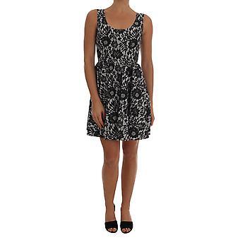 Dolce & Gabbana Black White Floral Print Cotton Dress