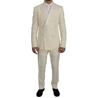 Dolce & Gabbana Cream White Wool Silk Slim Fit 3 Piece Suit