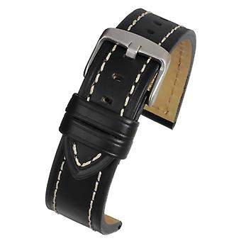 Calf leather watch strap black with heavy stitching size 18mm to 22mm