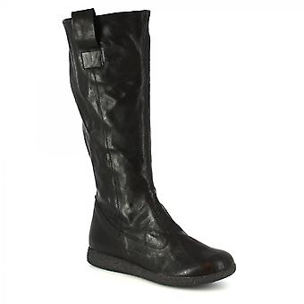 Leonardo Shoes Women's handmade knee high boots in black calf leather with zip