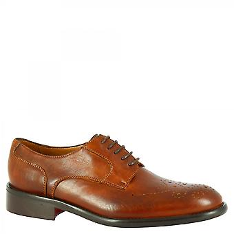 Męskie's ręcznie robione pół brogues oxford buty w tan tkane skóry cielęcej