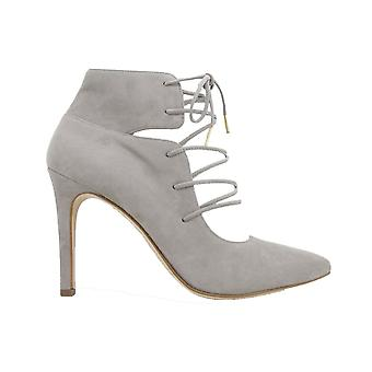 Paul Green 3561-03 Rosewood Grey Suede Leather Womens Lace Up Stiletto Heel Shoes