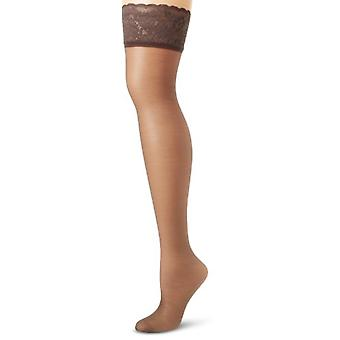 Hanes Silk Reflections Women's Lace Top Thigh High, Barely Black, C/D