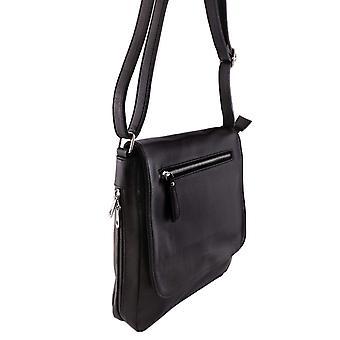 Skulderremtaske, læder, sort