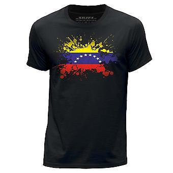 STUFF4 Herren Runde Hals T-Shirt/Venezuela/venezolanische Flagge Splat/schwarz
