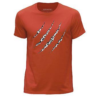 STUFF4 Men's Round Neck T-Shirt/Animal Claw Snow Leopard Skin/Orange