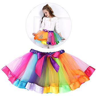 Rainbow Tutu - Layered Rainbow Skirt Ruffle Tiered Tulle Tutu Ballet Skirt - For 0 - 8 Girls