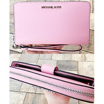 Michael kors jet set medium zip around phone holder wallet wristlet carnation pink