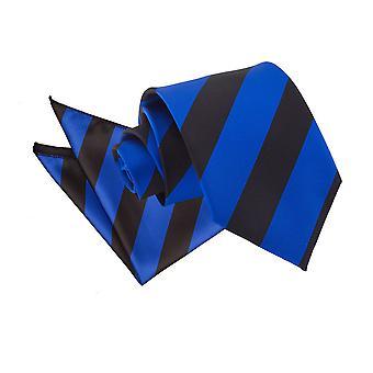 Kongeblå & sort stribet slips & lomme firkantet sæt