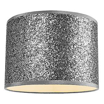 Modern and Designer Bright Silver Glitter Fabric Pendant/Lamp Shade 30cm Wide