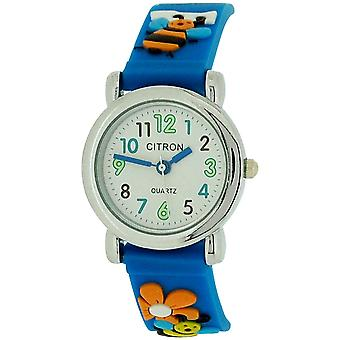 Citron Analogue Girls - Kids Bumble Bee Blue Silicone Strap Watch KID43