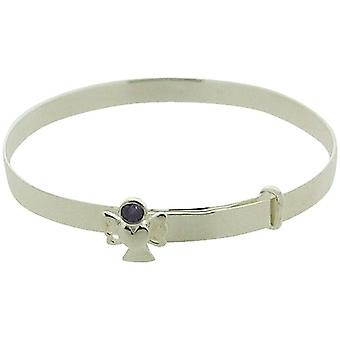 Jo For Girls Sterling Silver February Purple Simulated Birthstone Angel Bangle