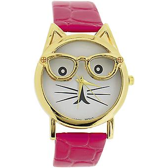 The Olivia Collection Ladies/Girls White Dial Cat Face Pink Croc Effect Watch