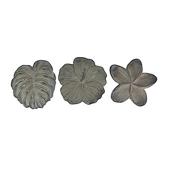 Set of 3 Dark Gray Cement Tropical Plant Stepping Stones Plumeria Monstera Hibiscus