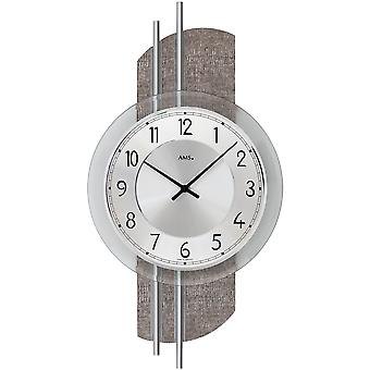 AMS 9412 wall clock quartz analog silver modern with aluminum and imitation leather