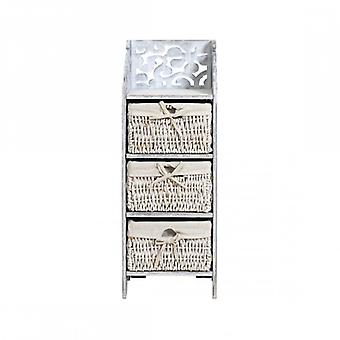 Møbler Rebecca Cassetti Comodino 3 lurvede hvide træ skuffer 78x29x22