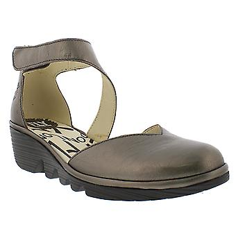 Womens Fly London Pats Idra Leather Wedge Heel Closed Toe Cut Out Shoes