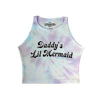 Twisted Apparel Daddy's Lil' Mermaid Pastel Tie Dye Crop Top