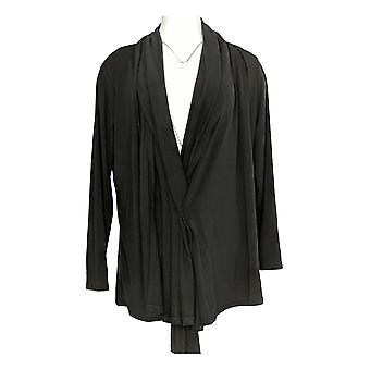 Magellan Women's Long Sleeves Open Front Tunic Caridgan Sweater Black