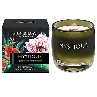 Stoneglow Infusion Natural Wax Scented Candle with Crackling Wooden Wick Mystique