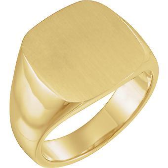 14k Sarı Altın 16x16mm Cilalı Erkek Metal Moda Signet Yüzük Boyutu 11 Erkekler için Takı Hediyeler