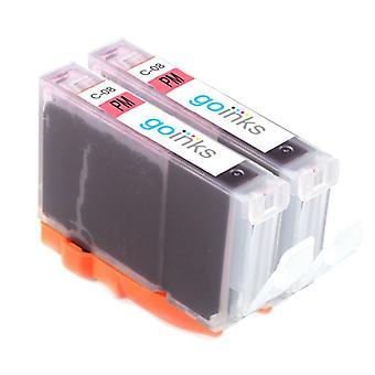 2 cartuchos de tinta magenta fotográficos para reemplazar la Canon CLI-8PM Compatible/no-OEM de Go Inks