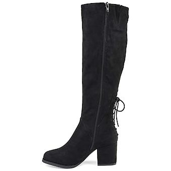 Brinley Co. Womens Knee-High Heeled Boot Black, 7.5 Extra Wide Calf US