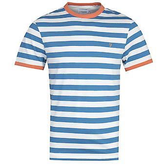 Farah Belgrove Stripe Blue & White T-Shirt