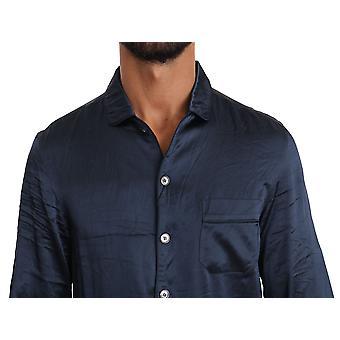 Dolce & Gabbana Mavi İpek Casual Lounge Gömlek TSH2850-38