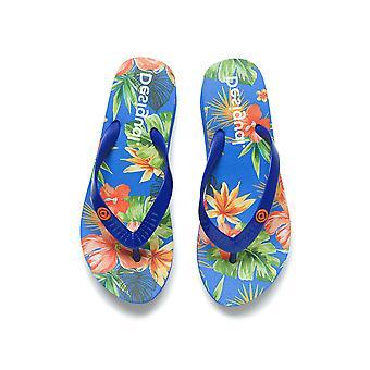 Desigual Sininen Lola Tropical Platform Sandaalit Varvastossut