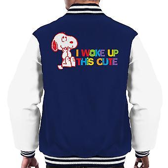 Orzeszki ziemne obudziłem się to słodkie Snoopy Mężczyzn Varsity Jacket