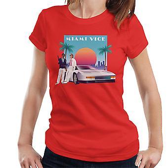 Miami Vice zonsondergang vrouwen ' s T-shirt