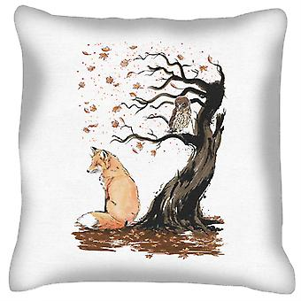 Animals Winds Of Autumn Fox And Owl Cushion