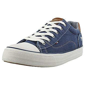 Mustang Causal Lace Low Womens Casual Trainers in Dark Blue