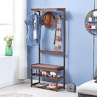 All In 1 Bamboo Coat&hat Rack Stand, Clothes Hanger And Shoe Bench
