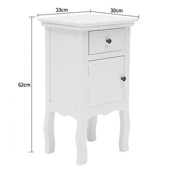 Rebecca Furniture Comodini 1 Tray 1 White Style Classic Shabby 62x33x30
