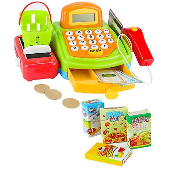 Caixa eletrônico de brinquedo com cartões de cesta de calculadora de scanner etc.